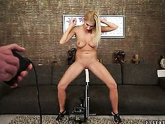 Blonde Clara G. with big melons is horny as hell and fucks herself with sex toy with wild passion