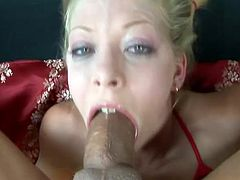 The pigtailed chick Leah Luv is going to give a deepthroat blowjob doing a 69 before the guy face fucks her.