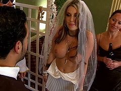 White slutty bride got really horny during her wedding ceremony so she started to rub her boyfriends dick to turn him on. He got horny real quick and ripped her wedding dress to fuck her all wet pussy.