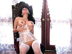 Vanessa Veracruz with gigantic breasts and hairless beaver fucking herself with toy