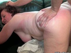 Young cock fucking fat granny's wet pussy. She seduced her son in law and takes advantage of his fresh and super hard cock. With her hands, mouth and greasy old pussy.