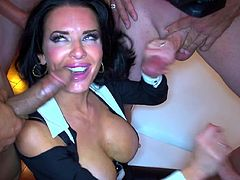 Big boobs brunette Veronica Avluv goes nasty in wild gang bang porn action