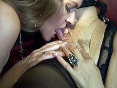 These two mature sluts, June and Vanessa, both have massive tits. They open their trimmed pussies for a good licking and use toys in their dirty pussy games as well.