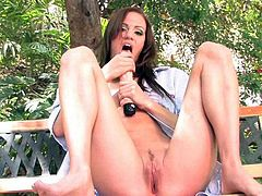 Addison Rose enjoying good outdoor solo masturbation with her toy