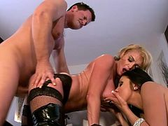 Hot pornstars Audrey Bitoni and Taylor Wane share a big cock together, they suck it. They fuck doggystyle and get cum in mouth.