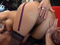Slutty Staci Thorn plays nasty with a big cock up her naughty ass hole