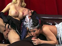 Sexy milfs Courtney and Aleksa are giving their best shot to satisfy this dude. The whores play with each other and then take care of his penis. They take turns in licking and sucking his dick and offer the dude their boobs too. He loves to lick those breasts just as much as the milfs love licking his cock