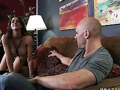 Johnny Sins is one hard-dicked dude who loves oral sex with Eve Laurence with big tits