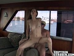 Petite girl gives an amazing blowjob on a boat. After that she lies down on a sofa and gets her tight pussy fucked properly.