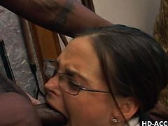 Brunette mom Cheyenne sucks massive black cock all the way her virgin throat. She looks nerdy but her ways will surely arouse your dirty callings to the maximum.