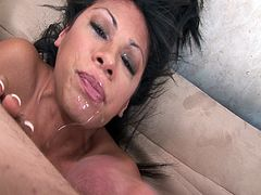 Latina beauty Cassandra Cruz gets into some deep throat action in Blowbang Competition 1. Cock sucking, licking balls, gagging and throat ramming, its all here in great view in this free tube hardcore sex video.