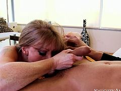 Voracious mommy Darla Crane still rocks the show with her giant plastic tits. Check out her hanging udders while she gives blowjob and gets her wet pussy licked.