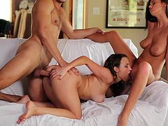 Lusty beauties having dirty threesome