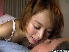 THis sizzling and super luscious siren is a great cock sucker and this blowjob takes so long that babe fucking sweats till he jizzes on her cute face.