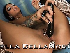 John Stagliano makes his throbbing love wand disappear in seductive Bella DellaMortes fuck hole