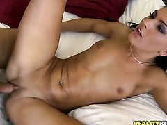 Piercings with round bottom and shaved muff is ready to fuck day and night with James Brossman