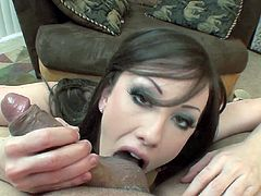 Hot gal gives top blowjob before having her face covered in warm jizz