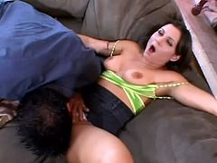 What a girl! Her big tits and big nipples make men feel an erection and she finishes that stage with a hot blowjob. Now his cock is ready to meet her pussy!