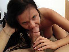 Brunette slut goes nasty in oral and makes this dick to splash her face with cum