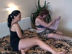 The busty, younger slut and her beloved nanny are having some naughty fun. Nanny Henrietta always loved her girl and this time she's about to show it! The old lesbian puts her head between those young, sexy thighs and licks the girl's pussy. She slides her tongue on her clit and shows how good she is at it!