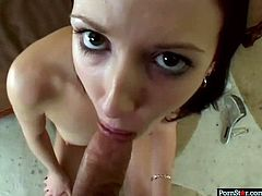 Alluring black haired slut named Hailey is not afraid of camera. She gives nice blowjob charming with her eyes and takes it up her bald coochie missionary style.