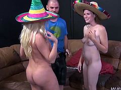 These bitches look fine, wearing sombreros and nothing more. We love seeing them, having a good time and nothing pleases our girls more, than an orgy. Our guy makes himself comfortable on the couch and the chick take care of everything, starting with a hot head. Look at them, sharing his dick, like well behaved whores