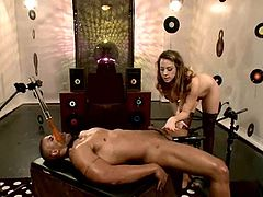 Robert Axel is tied up and Chanel Preston is his BDSM queen of the night. His cock stands up, despite all the pain Chanel gives to him. Babe loved to ride him!
