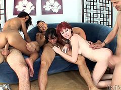 Check out this naughty hoes getting banged hard by a bunch of brutish pussy destroyers. One of the mommies is double penetrated and screwed bad in her both fuck holes. Awesome Fame Digital porn clip.