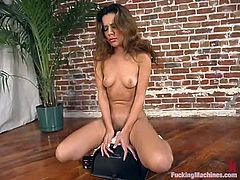 Pretty brown-haired girl Catalina is playing dirty games in her room. She caresses her beautiful body and then gets her snatch smashed by a fucking machine.