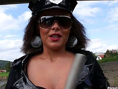 She is lusty polices officer with stunning body shape. She flashes appetizing boobs and gives hot titjob. Later she sucks big dong deepthroat right on a street.