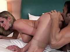 Zoe Holiday has fire in her eyes as she gets her throat drilled by her bang buddy