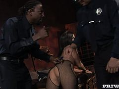 She is detained for the absence of ID. Well, babe knows how to get out of the detention! Officers are going to enjoy what she does to their cocks!