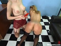 Sexy blonde Jenni Lee is playing dirty games with hot mistress Chanta-Rose. Chanta beats Jenni's ass and then destroys her coochie with a strapon.
