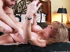 Horn made long haired brunette mature hops on long slim dick of young lover in cowgirl style before welcomes pussy eating from him in sizzling hot sex video by Naughty America.