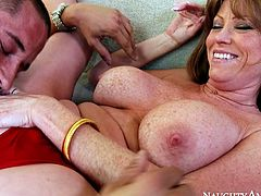 Full bosomed mature hottie Darla Crane receives cunnilingus from Danny. Later she rides her mate's massive prick making her huge booty bounce.