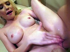 Voracious dude with oversized meaty dick pokes soaking stretched cunt of luscious blondie in missionary style. Later he makes her stand in doggy pose to keep fucking her from behind.