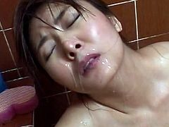 Needy japanese babe gets roughly fucked before splashed all over her face with jizz