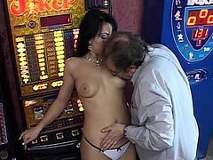 Alluring brunette with superb forms gets old guy in during hardcore action