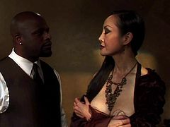 Angie is a beautiful mature Asian goddess, who has taken a black slave, to abuse. She makes him eat her pussy and pushes his head down, so he continues to lick her cunt. She puts her legs behind her head, so he can lick her ass.