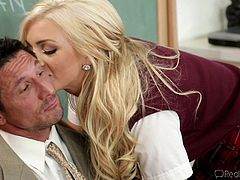 Being a teacher is hard, especially when you have such naughty and hot students, such as Cameron. This blonde babe has a lot in her mind, but learning is not what she's thinking about! She tries to concentrate, but just feels horny, so she approaches her teacher and teaches him something, by sucking his cock