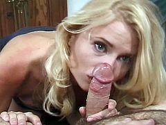 Check out this horny blonde milf having some fun with a young midget. She deepthroats his big schlong and wants to feel it deep into her shaved pussy hole!