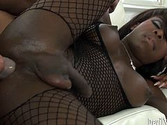 Go for the hottest shemale sex video produced by Fame Digital porn site. Black ladyboy rides meaty cock like crazy with her tight ass hole.