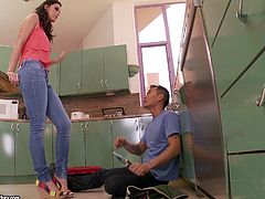 Awesome brunette Jennifer Dark is having fun with some Asian guy in the kitchen. She allows the dude to lick her pussy and feet and then they fuck in cowgirl and other positions on the floor.