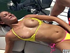 Gorgeous and busty siren Samantha loves it big and she loves sealing. Today she is going to experience both at a time!