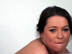 Brunette Savannah Secret takes mans throbbing tool so fucking deep after foreplay