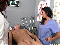 Two horny nurses un the hospital were looking for male to fuck with. They went in to the room of a patient and took off their tight and sexy dress to seduce the patient. These bitches were unstopable when it came to sticking out his large cock and suck it deepthroat.Watch these sluts giving a blowjob in Brazzers NEtwork sex clips.