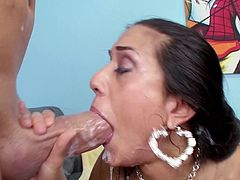 Brunette slut gets filled with juice after throating huge cock in pure oral