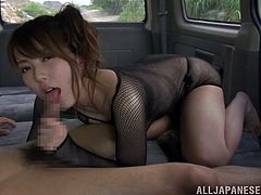 Beautiful japanese babe with natural tits and sexy lingerie having fun in a car, blowing a hard asian cock and getting cum in mouth.