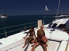 Cute blonde Boroka Balls and gorgeous hottie Sahara Knite are getting naughty with some man on a yacht. They favour him with a fabulous blowjob and then get fucked in standing and other positions.