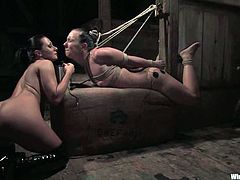 Julie Night and Sandra Romain are having BDSM fun indoors. Sandra fucks Julie's ass with a dildo and then makes her eat her shaved pussy.